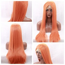 Wholesale Black Orange Wig - New Cosplay Orange Long Silky Straight Party Wigs with Baby Hair Heat Resistant Glueless Synthetic Lace Front Wigs for Black Women