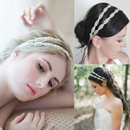 Diadème de perle avec strass en Ligne-Haute qualité luxe strass perle mariée bande de cheveux front tiare mariage accessoires de mariée Deux couches coiffes livraison gratuite