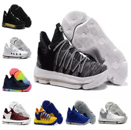 Wholesale Kd Shoes Kids - Sales KD 10 Oreo Black White men women kids shoes Store Kevin Durant Basketball shoes free shipping Wholesale prices