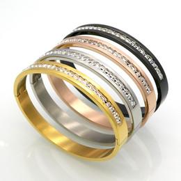 Бриллиантовый браслет широкий онлайн-Роскошные Алмаз пара браслет мода розовое золото Алмаз полный алмазов браслет широкий узкий издание титана стали мужские и женские браслет