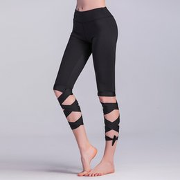 tied leggings Promo Codes - Wholesale breathable tight half sport pants Capri length yoga pants wrap ties turnout leggings capri sports pants legging