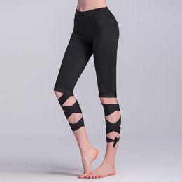 Wholesale Women Capri Tights - Wholesale breathable tight half sport pants Capri length yoga pants wrap ties turnout leggings capri sports pants legging