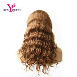 Wholesale peruvian auburn full lace wig - Remy Queen 30# Light Auburn Body Wave Full Lace Wig 100% Human Hair 130% Medium Density Nautral Hairline With Baby Hair Bleached Knots