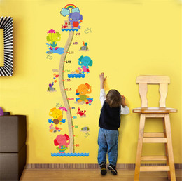 Wholesale vinyl adhesive tiles - Elephant Kids Growth Chart Height Measure Wall Sticker For Kids Rooms DIY Home Decoration Pegatinas Paredes Decoracion
