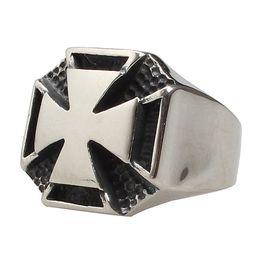 Kühle silberne ringe für männer online-316 Edelstahl Retro Antik Silber Coole Tempelritter Rock Punk Gothic Kreuz Ringe für Männer
