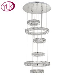 Wholesale Chandeliers For Staircase - New Modern LED Crystal Chandelier For Living Room 6 rings Hanging Crystal Lights Luxury Staircase LED Lustres De Cristal