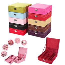 2019 cajas de regalo de satén al por mayor Gran venta de moda superior cuadrado de la joyería de la franela Simple diseño 2 capas de maquillaje organizador gargantilla anillo collar caja de almacenamiento