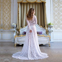 aab33af12f460 Le Couple Maternity Photography Props Lace Long Dress V-neck Floor Length Eyelashes  Lace Maternity Photo Shoot Gown