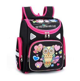 hibou sacs à bandoulière Promotion Marque 1-3 grade orthopédique sacs d'école Cartoon papillon chouette modèle de chat pour les filles en nylon plié enfants école primaire sac à dos