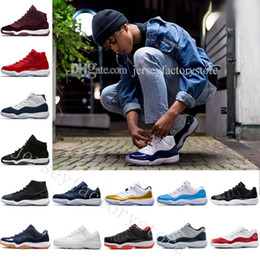 Wholesale girl cherries - Big boy shoes 11 Gym Red Midnight Navy Space Jam 45 hot sale 11 white red Low Varsity Red DS Cherry XI PREe Big boy Girl shoes free shipping