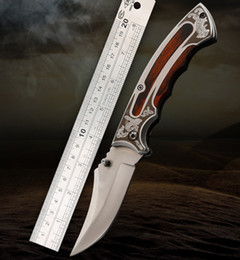 Wholesale Blade Curve - Outdoor high hardness folding knife (steel + colored wooden handle) curved blade