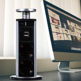 Plugue pop-up on-line-220 V 16A PULL POP UP Elétrica 3 Tomadas de Tomada de 2 Tomada USB Tomada De Cozinha Tomada de Mesa para Bancadas Worktop Plugue DA UE