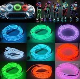 Canada 5 m Flexible Néon Lumière EL Fil De Noël Éclairage Néon Corde Glow Strip Light pour Voiture Vélo Parti Batterie Contrôleur CCA10042 60pcs supplier el wire 5m Offre