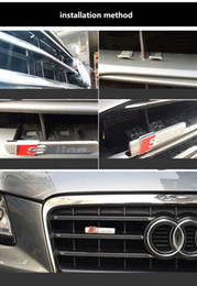 vinyl-auto-aufkleber druck Rabatt S Linie Sline Frontgrill-Emblem-Abzeichen-Aufkleber aus verchromtem Kunststoff ABS -Front Gitter-Halterung für Audi S3 S4 S5 S6 S8 A1 A3 A4 A5 A6 A7