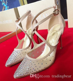 Canada rouge bas talons hauts strass meshy argent chaussures de mariage nu avec boîte et logo designer chaussures 10cm pointure 34 à 40 Offre