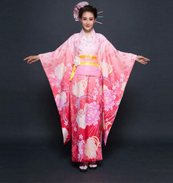 Сексуальный женский костюм женщин онлайн-Top Quality Pink Japanese Women Evening Dress Vintage Kimono Gown Yukata With Obi Sexy Cosplay Costume Flower One Size NK002