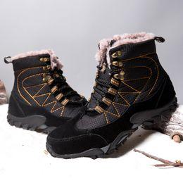 стальная заслонка Скидка Водонепроницаемый мужской безопасности обувь синий коричневый черный замша верхней стали Toe демпфирования единственным противоскользящие износостойкие мужские открытый обувь для зимы 11
