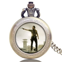 Wholesale American Pocket Watch - Hot American Drama The Walking Dead Theme Glass Dome Design Quartz Pocket Watch Men Women Boy Girls Children Necklace Pendant Chain Clock