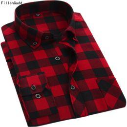 Camisas baratas de manga larga online-FillenGudd Calidad Primavera Otoño Rojo y negro A cuadros Camisas de hombre Bajar el cuello Casual Manga larga Barato China Marca de ropa D18102301