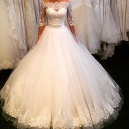 Wholesale Simple Winter Ball Dresses - 2018 sexy vintage wedding dresses bridal gowns lace ball gown long sleeves plus size wedding dress lace
