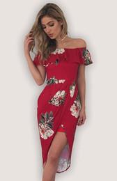 Novo Plus Size S-XL Longo Boho Vestido Sexy Strapless Elastic Imprimir Vestido de Praia Mulheres Roupas Irregular vestido de Baile vestido de Fornecedores de vestido vermelho curto barato do cetim
