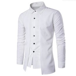Wholesale office england - Double Placket Shirt Handsome Boy Novelty Streetwear Gentleman White Wedding Blouse Business Office Casual Blusa England Style