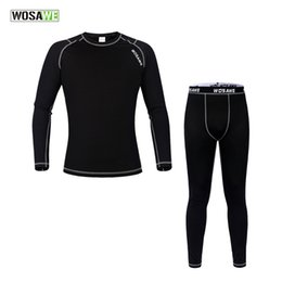Wholesale Long Johns Sets For Men - WOSAWE Men Base Layer WinterThermal Underwear Long Johns Jersey Tights Clothes Set for Outdoor Sport Gym Fitness Cycling Running