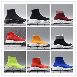 Wholesale knit children - Infant & Children Kids running shoes Speed sock High Sneaker Tess Mesh outdoor Sports shoes toddler boy & girl Trainer stretch-knit