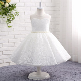 baby frocks designing Promo Codes - 2019 tea length white Ball Gown lace Flower Girl Dresses for wedding pearls wasit jewel neck Glitz Infant Toddler Baby Kids Frock Design