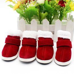 Botte de chien de neige en Ligne-Chaussures pour chiens Chiens Chaussures de Noël Chaud Bottes de neige pour chien Agneau Cachemire Hiver Garder au chaud Chaussures rembourrées en coton