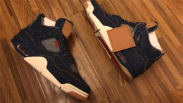 Wholesale Best Quality Denim - Air Retro 4 Denim Blue Jean Basketball Shoes For Men Authentic Sneakers 2018 Limited Release Best Quality Fashion Shoes With Original Box