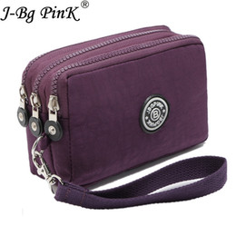 J-BG PinK Nylon Purse Double Layer Pocket With Zipper Coin Holder 2017 New  Wallet Bracelet Clutch Slim Purse Girl Cheap Hot Sale e5a03cfa8f642