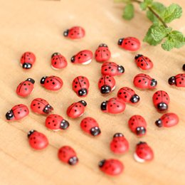 Wholesale Mini Houses - Wood Ladybug Insect Mini Craft Miniature Fairy Garden DIY Accessories for Home Decoration Houses Micro Landscaping Decor