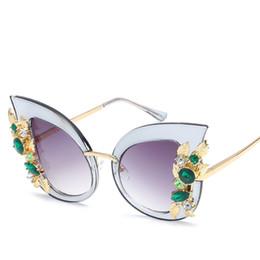 Wholesale Vintage Pink Diamond - Diamond Sunglasses Women Brand Designer Cat Eye Sun Glasses Vintage Retro Transparent Frame UV400 female oculos de sol