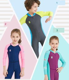 Wholesale Boys Swimwear One Piece - newest 2018 children diving suit outdoor long-sleeved one-piece swimsuit sunscreen fast dry children's swimwear for kids A475