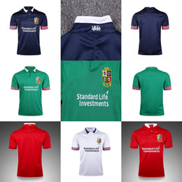 Wholesale irish rugby shirt - 2017 2018 Adults New Thai Quality Ireland British Irish Lions Euro Super Home Red Away White Blue Green Rugby shirts Size S-3XL Jerseys