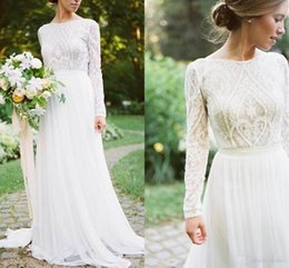 8cd4e0ba9b Detail Lace Floral Vintage Bohemian Country Long Sleeve Wedding Dresses  2018 Jewel Fairy Plus Size Garden Farm Bridal Reception Dress