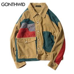 Wholesale Mens Corduroy Jacket Xl - GONTHWID Color Block Patchwork Corduroy Jackets Mens Hip Hop Casual Long Sleeve Pockets Outwear Coats Male Fashion Streetwear