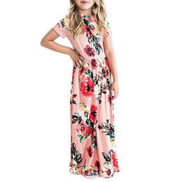 Canada Été Boho Beach Dress Mode Floral Imprimé Big Girls Long Dress À Manches Courtes Lâche Maxi Dress Vente Chaude Enfants Vêtements cheap sale boho maxi dresses Offre