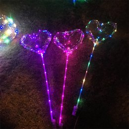 Wholesale Bubbles Birthday Party - LED Luminous Balloon With Light String Kids Toy Gift 18 Inch Valentines Day Heart Shaped Balloons Birthday Party Decor C R