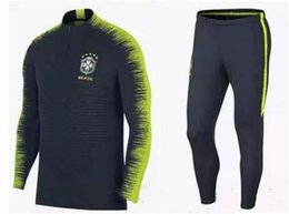 Wholesale Tights Men Suit - 2018 top quality jersey-Brazil training suits Uniforms shirts Chandal NEYMAR JR tracksuits Survetement long sleeve tight pants With zipper