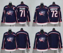 Wholesale Women Jacket Xxl - #72 Sergei Bobrovsky Columbus Blue Jackets 2017-2018 Season Jerseys Men Women Youth 71 Nick Foligno All Stiched Hockey Jerseys