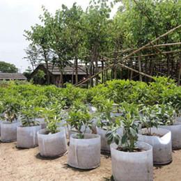 Riutilizzabile rotondo bianco tessuto non tessuto a maglia morbida altamente traspirante crescere vasi di piante sacchetto di aerazione contenitore giardino con manici grande fiore da