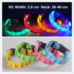 Wholesale lighted collars for dogs - A51 Pet LED Collar Puppy led Necklace Night Safety Glow Flashing Dog Cat Collars 2.0 width XS led collar for small pets