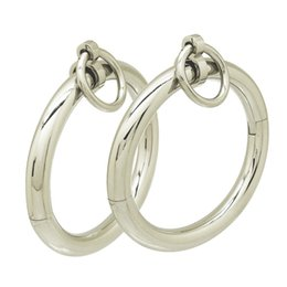 Wholesale Steel Restraints Sets - whole salePolished shining 304 stainless steel lockable oval shapes bangle bracelet with removable O-ring restraints set