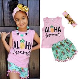 2c2a4c3c3 2019 trajes de playa para niños Niños Niñas Ropa de verano de piña Outfit  Chaleco +