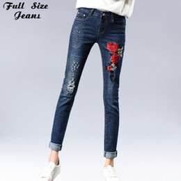 Wholesale Dark Blue Jeans For Women - Plus Size Floral Embroidery Pencil Jeans For Women 4Xl 5Xl 7Xl Dark Blue Ripped Skinny Slim Long Pants Trousers