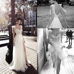 robe de mariée longueur au coude Promotion Dos nu plage robes de mariée fendue 2018 Sweetheart manches bouchées dentelle Vintage Boho robe de mariée une ligne robe de mariée vintage
