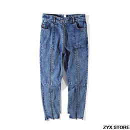 Calças cintura alta capris on-line-2017SS Melhor Qualidade Vetements Mulheres Homens Denim Jeans Nona Calças Com Zíper Patchwork Mulheres Homens Irregular Jeans De Cintura Alta