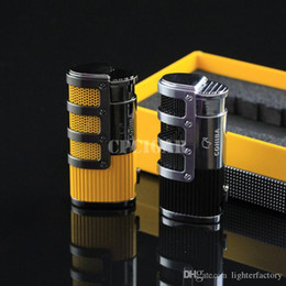 Wholesale Torch W - COHIBA High-end Network Armour Cigar Smoking Ligther w  Built-in Cigar Punch Flame 3 Torch Cigarette Fire Lighter w  Gift Box